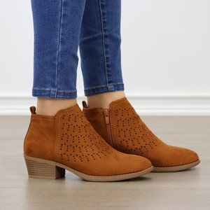 Brown Suede Ankle Boots Laser cut Design